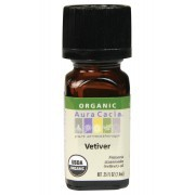 Aura Cacia - Vetiver Certified Organic EO - Packaging of 7.4 ml