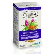 Celestial Tea - Organics Ginger Turmeric Herbal Tea - Packaging of 6X18 count